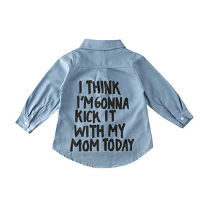 Toddler Kid Baby Girl Autumn Warm Clothes Denim Long Sleeve Shirt Blouse Coat Shirt Jacket Letter Print Sweet 2-7Year