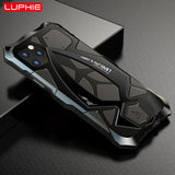 For iPhone 11 Pro XS Max XR Case,LUPHIE Metal Armor Rosdster Phone Case 360°All Round Coverage Protection Cool Travelling Cover