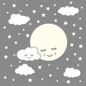 Full Moon With Clouds Stars Wall Decal Kids Nursery Rooms Removable Wall Stickers