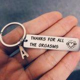 Funny Key Chain Women Men Charm Couple Key Ring Thanks for All The Orgasms Letter A-Z Love Gift Boyfriend Girlfriend Keychain