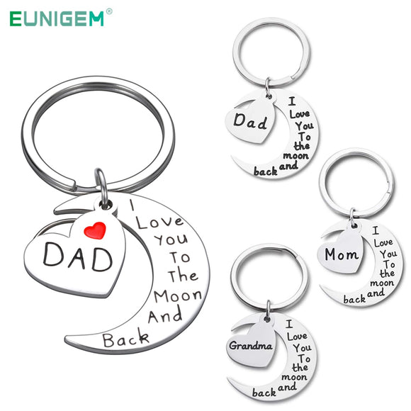 Grandma Keychain Gift From Granddaughter Grandson I Love You To The Moon and Back Grandma Mom Dad Gift from Daughter Son