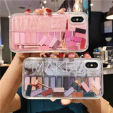 Dynamic Glitter Makeup Eyeshadow Quicksand Phone Case For iPhone XR XS Max X 6 6S 7 7 Plus Cosmetic Cover For iPhone 11 Pro max