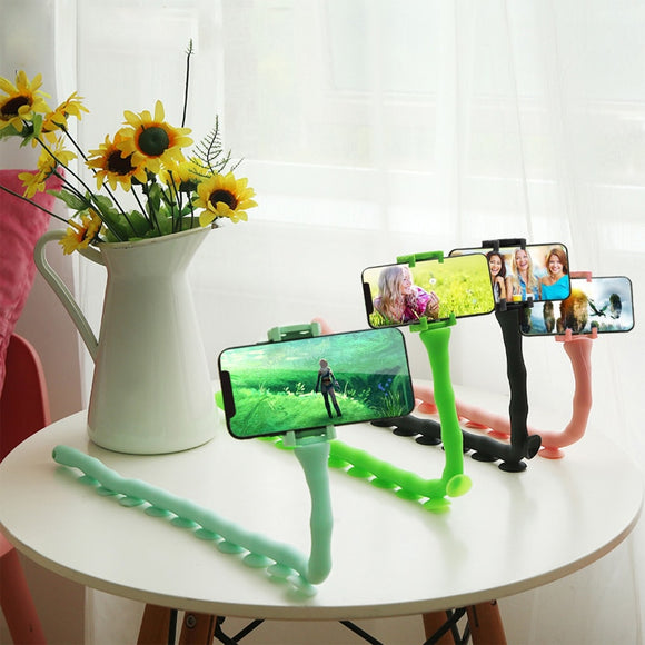 Cute Caterpillar Lazy Bracket Mobile Phone Holder Worm Flexible Phone Suction Cup Stand For Home Wall Desktop Bicycle