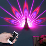 Peacock Projector Lamp 7 Colors USB Rechargeable Peahen Wall Corridor Lights