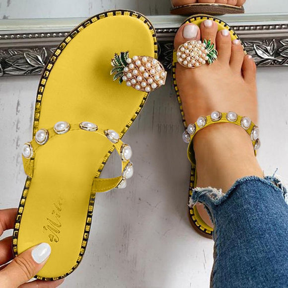*Fashion Women Girls Pearl Flat Bohemian Style Lady Casual Sandals Slippers Beach Shoes Sweet Sandals Sandalias