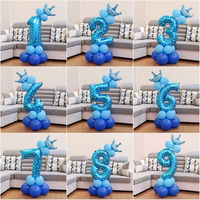 Happy Birthday Foil Number Balloon Baby Boy Girl Party Decorations Kids Supplies