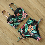 High Waist Swimwear 2020 New Leaf Print Bikinis