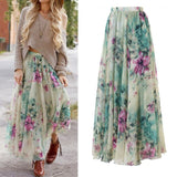 High waist boho print HIRIGIN Long Skirt Women maxi skirt floral print