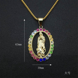 Hip Hop Iced Out Big Virgin Mary Necklaces Pendants Gold Color Stainless Steel Chain For Women Christian Jewelry Madonna