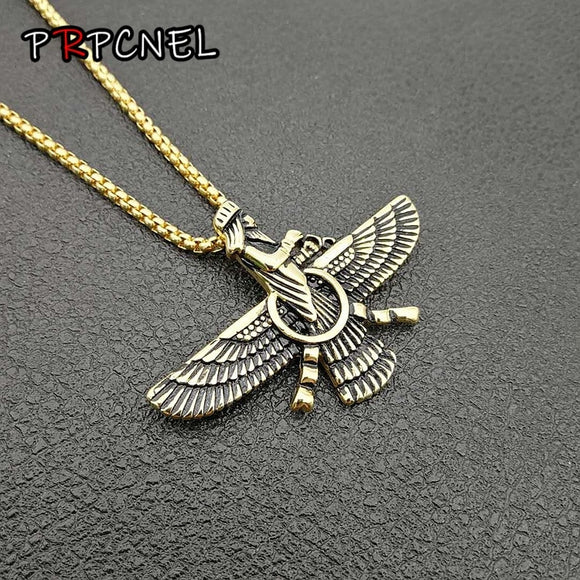 Hip Hop Paved Faravahar Ahura Mazda Zoroastrian Pendant Necklace Gold color 316L Stainless Steel Men Jewelry
