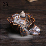 Hot 24 Kinds Ceramic Incense Holder Portable Backflow Incense Burner Mountain Waterfall Fish Hand Lotus Incense Holder