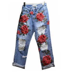 Hot Sale Women's Ripped Jeans Fashion Boyfriend Jeans For Woman Hole Denim pants Flowers Embroidery