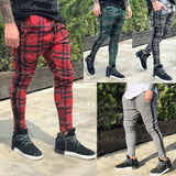 Men's Long Casual Sport Pants Slim Fit Plaid Trousers Running Joggers