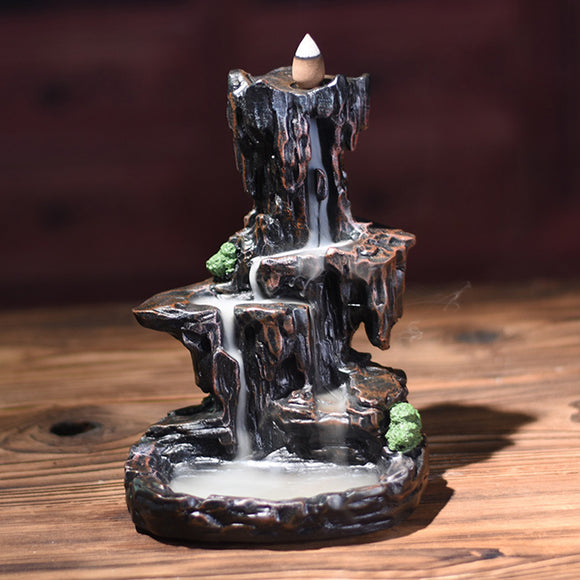 Incense Burner Gift Exquisite Home Unique Crafts Waterfall Smoke Backflow Decoration Censer Holder Mountain River Office Resin