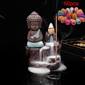 Incense Cones + 1Pc Burner The Little Monk Small Buddha Censer Ceramic Waterfall Backflow Incense Burner Holder Home Decor