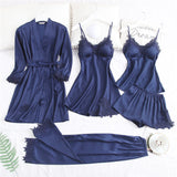 5 Piece Pajamas Set Sexy Lace Stain Women Pajamas Faux Silk Dressing Gown Lace Summer Robe Sleepwear With Chest Pads