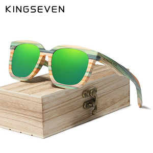 KINGSEVEN Handmade Retro Natural Bamboo Sunglasses Men Women Polarized Mirror UV400 Sun Glasses Full Frame Wood Shades