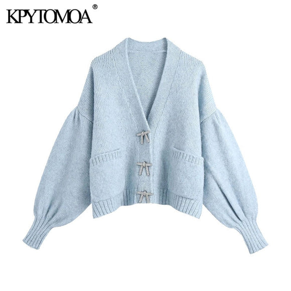 Buttons Loose Knitted Cardigan Sweater Vintage Long Sleeve Pockets Female Outerwear Chic Tops