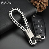 Hand Woven Car Keychain Keyring For VW MG Mitsubishi Mustang Opel Peugeot Porsche Jeep Auto Car Key Chain Rings Holder