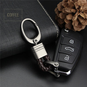 Hand Woven Horseshoe Buckle Car Keychain Keyring Auto Car Key Chain Rings Holder