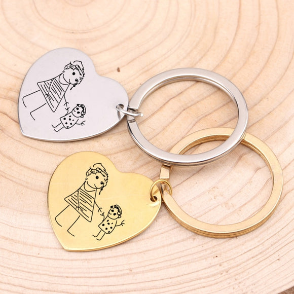 Kids Drawing Keychain Engraved Baby Artwork Charm