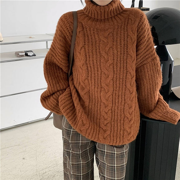 Korea Style Women Girl Winter Full Sleeve Knitwear  Pullover Sweaters