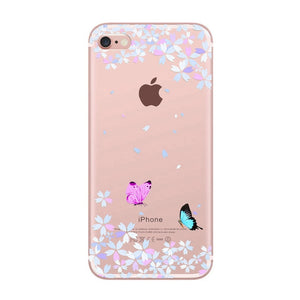 Transparent  Silicone Soft Case For iPhone 7 8 6S 6 Plus X Xr Xs 11 Pro Max 5 5S SE 2020 Cute Bumper Girl Phone Cover