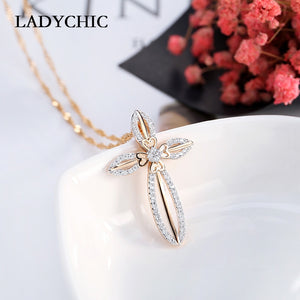 Elegance Gold Color Flower Leaf Cross Pendant Necklaces for Women and Girl Trendy Crystal Necklace Gift Collares