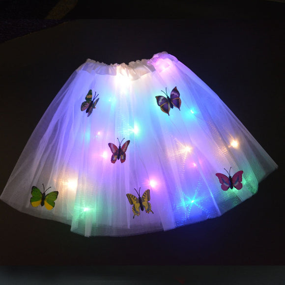 LED Skirt Glow Butterfly Light Tutu Luminous Party Halloween Festival Wedding Birthday Christmas Tree Gift Xmas 2-8 Years Girls