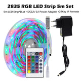 LED Strip Light RGB 5050 2835 Flexible LED Light Strip 10M 15M 20M 12V LED Tape + Power Adapter + Bluetooth Music Controller