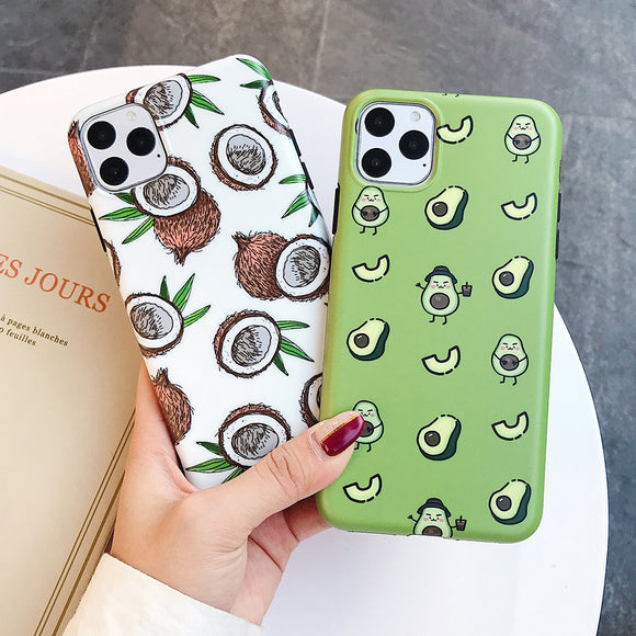 Cartoon Fruit Avocado Fig Phone Case For iPhone 11 Pro Max XR X XS Max 7 8 6S Plus Case Full Body Soft IMD Phone Cover