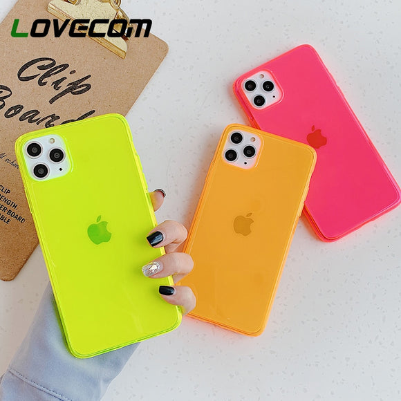 Neon Fluorescent Solid Color Phone Case For iPhone 11 Pro Max XR X XS Max 7 8 Plus Case Soft IMD Clear Phone Back Cover