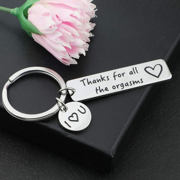 Letter Funny Keychain Gifts for Boyfriend Husband Thanks for All The Orgasms Keychain with Couples Gift