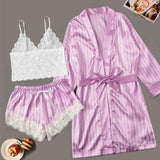 Long sleeve Womens Pajamas Sexy Lace Lingerie Nightwear Underwear Sleepwear 3PC Suit Pajama Sets For Women Pijama Mujer