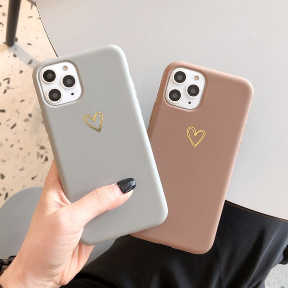 Gold Love Heart Case For iPhone 11 Pro 6 6S 7 8 Plus X XR XS Max Simple Solid Color Phone Cases Soft TPU Back Cover Capa