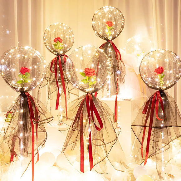 Luminous Led Balloon Transparent Round Foam Rose Bouquet Ball Birthday Party Wedding Decor Led Balloons Christmas Gift