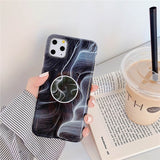 Luxury Marble Stand Phone Holder Case For iphone 11 Pro X XR XS Max 7 8 6 6S Plus Case Silicone Soft TPU Back Cover Shell