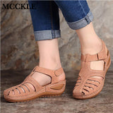 Woman 2020 Summer Leather Vintage Sandals Buckle