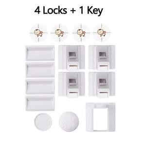 Magnetic Child Lock Baby Safety Cabinet Drawer Door Lock Children Protection Invisible Lock Kids Security 4/8 Locks + 1/2 Key