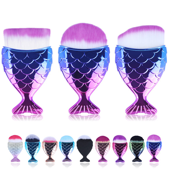 Make Up Brushes Cosmetic Professional Tail Mermaid Holder Shape Makeup Brush Foundation Cosmetic Fish Tools Kit Powder Face