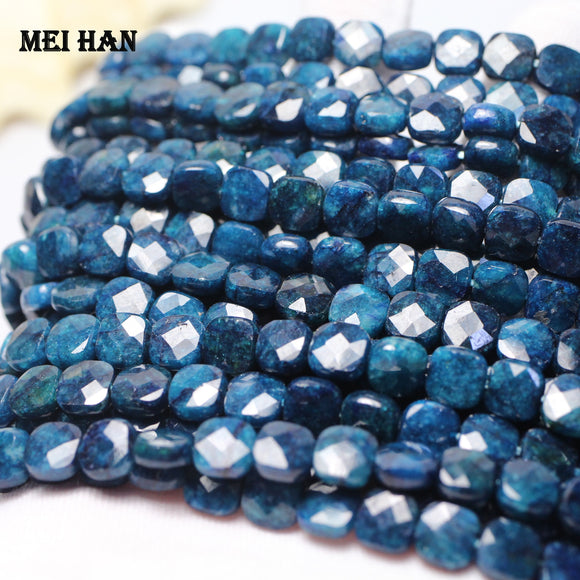 8*8*4mm blue apatite faceted square loose gemstone beads for jewelry making diy design