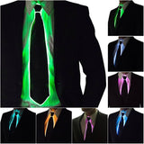 Men Glowing Tie EL Wire Neon LED Luminous Party Haloween Christmas Luminous Light Up Decoration DJ Bar Club Stage Prop Clothing