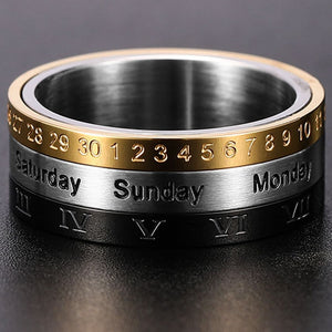Men's Roman Numerals Date Calendar Time Ring For Rotatable Week Finger Gold Fashion Punk Biker Wedding Stainless Steel Rings