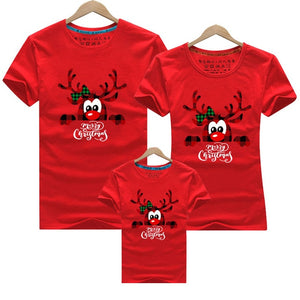 Merry Christmas Family Matching Clothes Mommy and Me Tshirt Mother Daughter Son Outfits Women Mom T-shirt Baby Girl Boys T Shirt