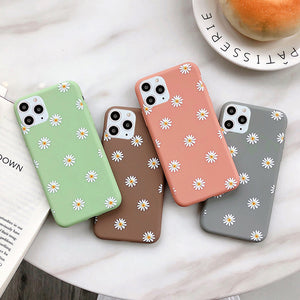 Flowers Phone Case For iPhone 11 Pro X XR XS Max 7 8 6 6s Plus 5 5s SE Chrysanthemum Floral Soft TPU Silicone Back Cover