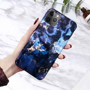 Phone Case For iPhone SE 2020 6s 7 8 Plus Glossy Granite Stone Marble Texture Cover For iPhone 11 Pro X XS Max XR Shell