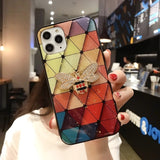 Multi-Color Grid Phone Case For Samsung Galaxy S20 S10 S8 S9 S20 Plus S20 Note 10 9 8 Ultra Bling Sequin Gold Foil Epoxy Case
