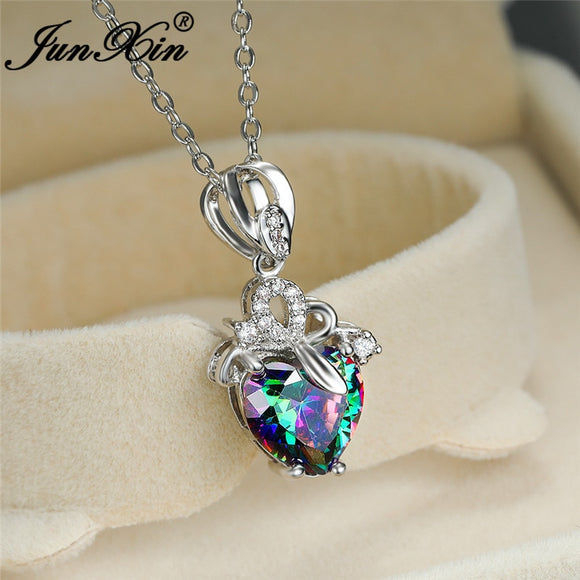 Mystic Rainbow Crystal Heart Pendant Clavicle Necklaces For Women White Gold Yellow Rose Gold Wedding Necklace Valentine Jewelry