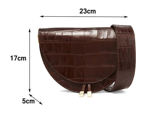 Crossbody Bag Fashion Crocodile Semicircle Saddle Bags PU Leather Shoulder Bags