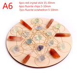 Natural 7Chakra Stones Set Crystal Collection Gravels Stone Round Small Wood Plate Quartz Gems Fengshui Gift